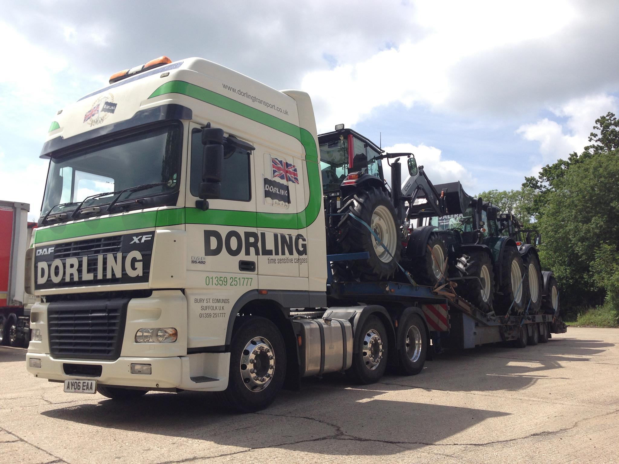 Tractor transport on low loader