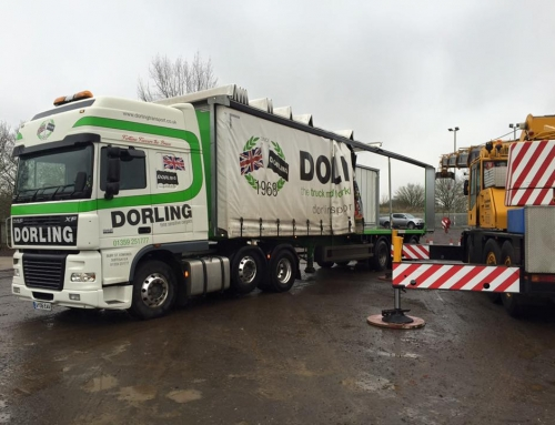 Crane loading a sliding roof curtainsider